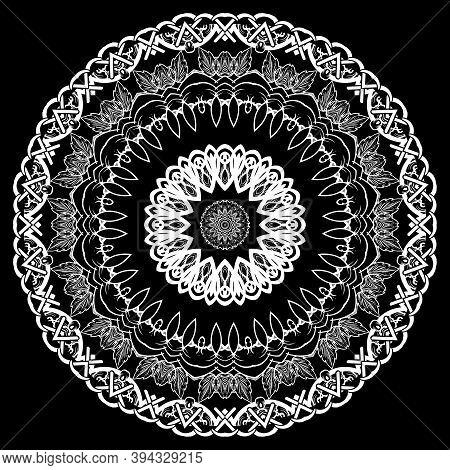 Baroque Black And White Vector Mandala Pattern. Ornamental Decorative Plate. Patterned Monochrome Ba
