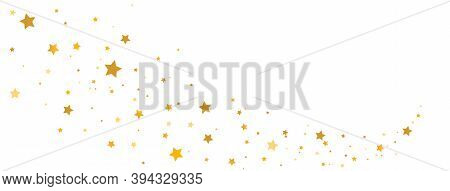 Golden Stars Composition On White Background. Star Trail Shape. Glitter Elegant Design Elements. Gol