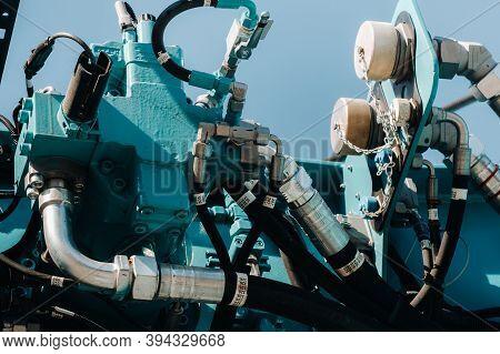 Hydraulic Crane Engine.the Control System Of The Crane Engine.lifting Hydraulic Department On The Tr