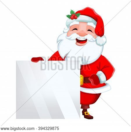 Stock Vector Cheerful Santa Claus Standing Near Big Blank Placard. Merry Christmas And Happy New Yea