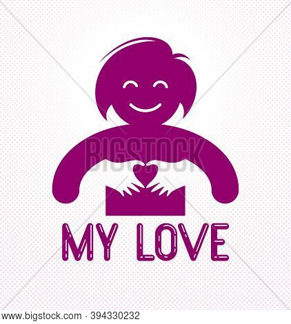 Love Arms Hugging Lover Shows Heart Shape Gesture Hands, Lover Woman Hugging Her Mate And Shares Lov