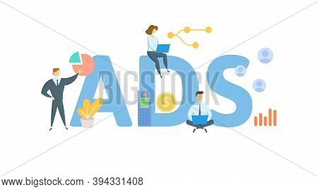 Ads, Alternative Depreciation System. Concept With Keywords, People And Icons. Flat Vector Illustrat