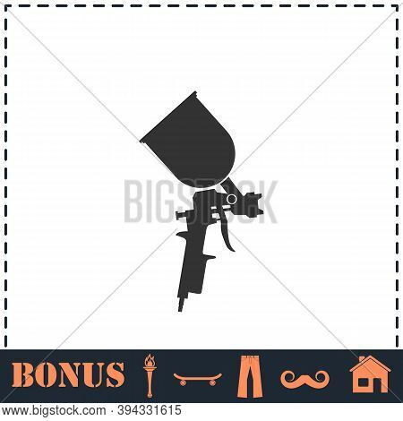 Pulverizer For Painting Icon Flat. Simple Vector Symbol And Bonus Icon
