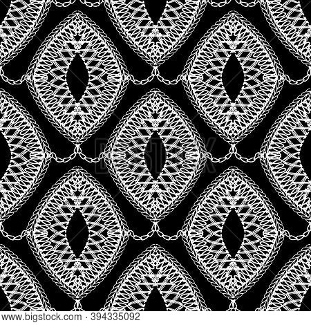 Lace Black And White Vector Seamless Pattern. Ornamental Monochrome Vintage Background. Elegance Dec
