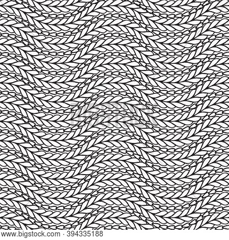 Wavy Black And White Knitted Seamless Pattern. Ornamental Abstract Fancywork Background. Embroidery