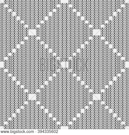 Stylish Black And White Knitted Seamless Pattern. Ornamental Abstract Fancywork White Background. Em