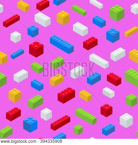 Pop Art Pattern. Plastic Colored Blocks On A Pink Background. Isometric.