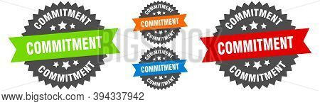 Commitment Sign. Round Ribbon Label Set. Seal