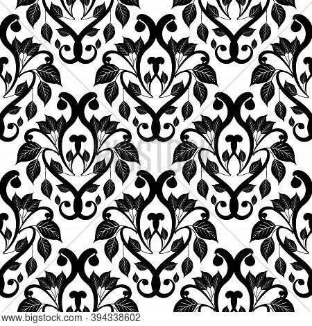Damask Black And White Vector Seamless Pattern. White Ornamental Floral Background. Antique Style De