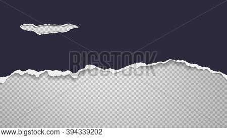 Piece Of Torn Dark Blue Paper Is On White Transparent Background For Text, Advertising Or Design. Ve