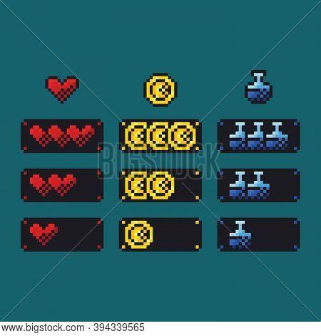 Pixel Art Vector Illustration Set - 8 Bit Retro Style Health, Mana And Money Indicator Bars, Game De