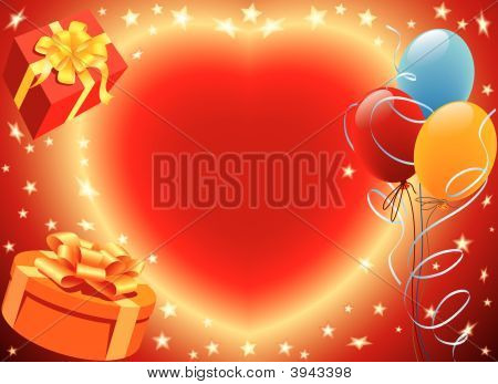 Birthday presents with heart and balloons party decoration poster