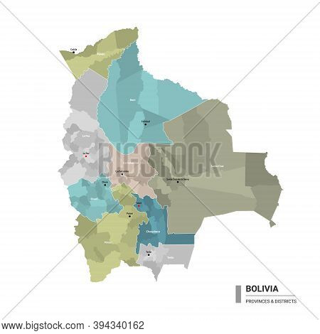 Bolivia Higt Detailed Map With Subdivisions. Administrative Map Of Bolivia With Districts And Cities