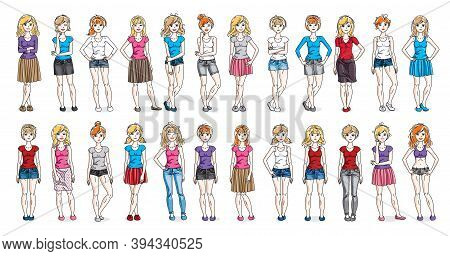 Casual Wear Clothes Cute And Attractive Women Vector Illustrations Big Collection Isolated On White