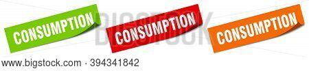Consumption Sticker. Consumption Square Isolated Sign. Consumption Label