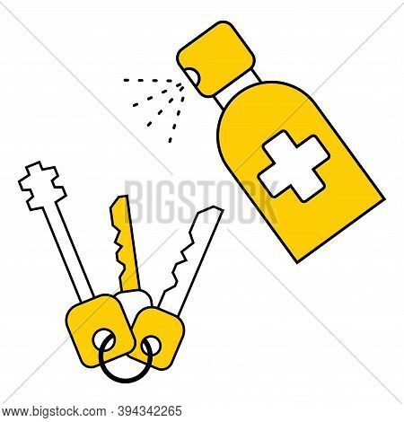 Protection Personal Effects From Coronavirus Bacteria. Sanitizer Spray For Disinfecting Keys. Keys S