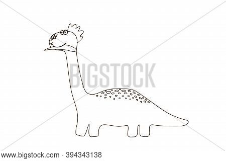 Coloring Book For Kids Cute Dinosaur. Cartoon Drawing For Childrens Creativity. Dinosaur For Drawing