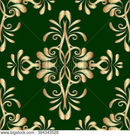Embroidery Gold Green Damask Vector Seamless Pattern. Tapestry Ornamental Background. Embroidered Or