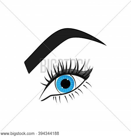 Blue Eye, Lashes And Brow. Vector Illustration.