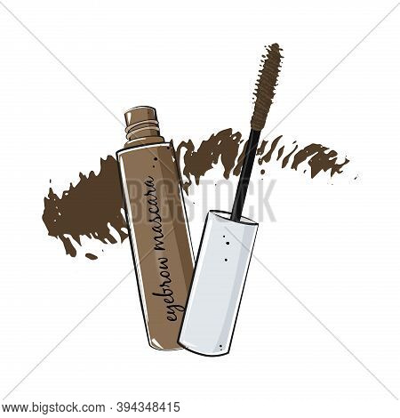 Brow Gel With Mascara Brush On White Background.