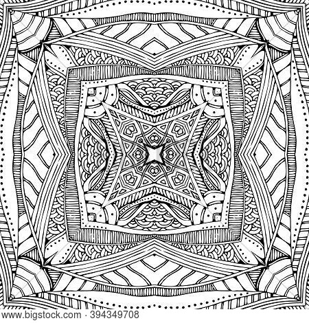 Black And White Ornamental Pattern. Beautiful Design For Stylish Bandana, Scarf, Kerchief.