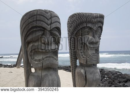 Wood Statue In Puuhouna In Hawaii In The National Historical Park.