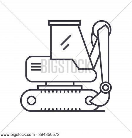 Backhoe Icon, Linear Isolated Illustration, Thin Line Vector, Web Design Sign, Outline Concept Symbo