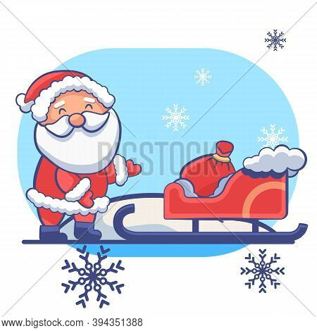 Santa Claus Sledge On White Isolated Backdrop. Christmas Holiday Postcard For Invitation Or Gift Car