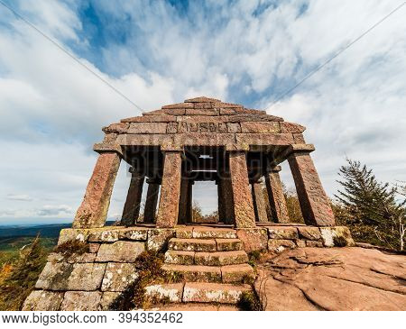 Monument On The Donon Mountain Peak In The Vosges. Historic Sacred Place Where The Rituals Of The Ce