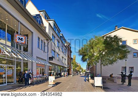 Weinheim, Germany - November 2020: City Center With Shopping Street With Almost No People In Old Cit