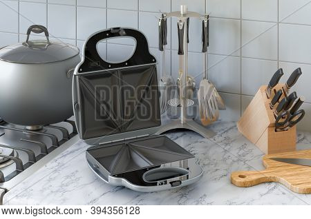 Opened Sandwich Maker On The Kitchen Table. 3d Rendering