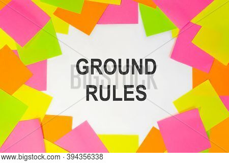 Text Ground Rules On A White Background. Multicolored Stickers Around