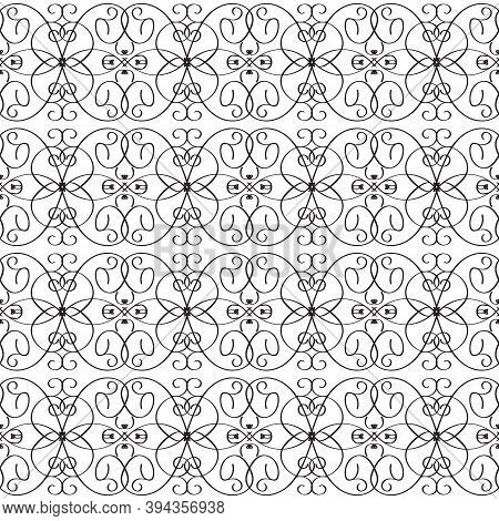Vintage Line Art Tracery Vector Seamless Pattern. Ornamental Abstract Black And White Monochrome Bac