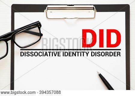 Did - Dissociative Identity Disorder Acronym, Medical Concept Background.