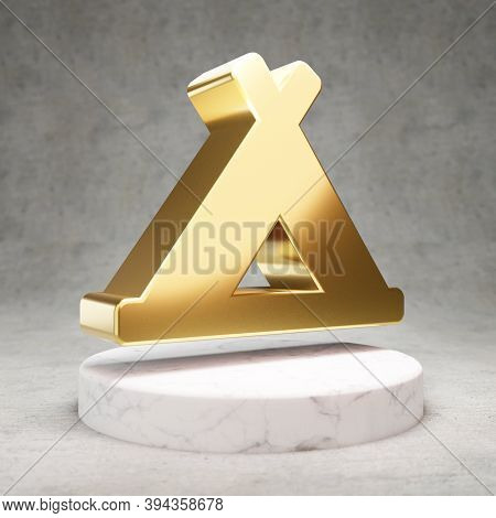 Campground Icon. Gold Glossy Campground Symbol On White Marble Podium. Modern Icon For Website, Soci
