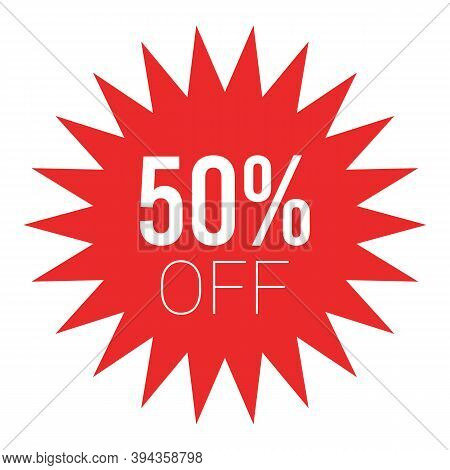 Red Sale Starburst Sticker - Stared Round Label And Badge With Best Offer And Discount Sign.
