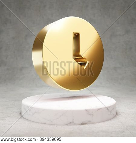 Clock Icon. Gold Glossy Clock Symbol On White Marble Podium. Modern Icon For Website, Social Media,