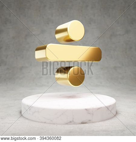 Divide Icon. Gold Glossy Divide Symbol On White Marble Podium. Modern Icon For Website, Social Media