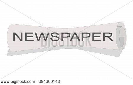Roll Of Newspaper With Newspaper Headline Isolated On White Background. Vector Illustation.