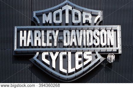Poznan, Poland - May 17.2019: Harley Davidson Logo Shop Sign Dealership Store Brand. Metal Harley-da