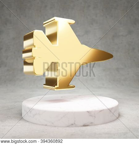 Fighter Jet Icon. Gold Glossy Fighter Jet Symbol On White Marble Podium. Modern Icon For Website, So
