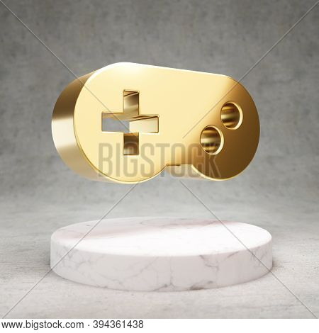Gamepad Icon. Gold Glossy Gamepad Symbol On White Marble Podium. Modern Icon For Website, Social Med