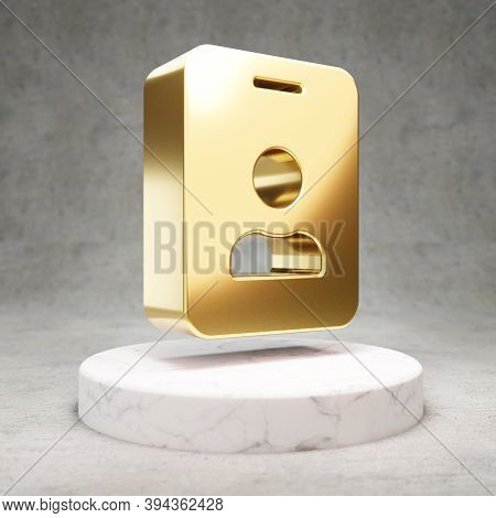 Id Badge Icon. Gold Glossy Id Badge Symbol On White Marble Podium. Modern Icon For Website, Social M