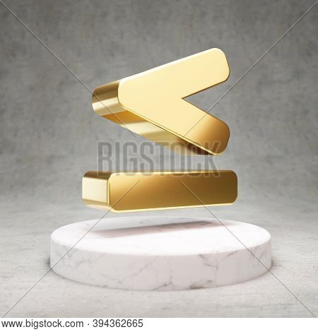 Less Than Or Equal Icon. Gold Glossy Less Than Or Equal Symbol On White Marble Podium. Modern Icon F