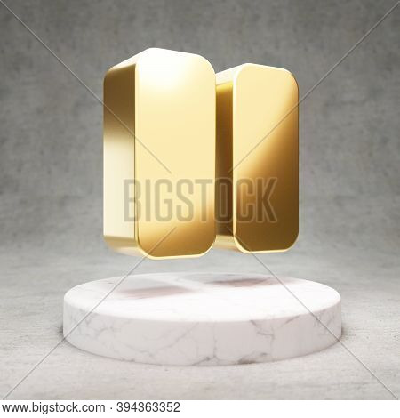 Pause Icon. Gold Glossy Pause Symbol On White Marble Podium. Modern Icon For Website, Social Media,