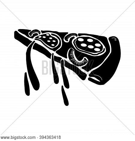 Pizza Slice With Salami And Vegetables Silhouette, Fast Food Meat Pastry, Hot Food For Pizzeria Logo