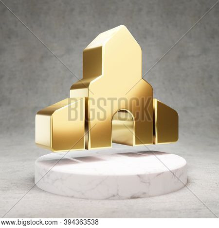 Place Of Worship Icon. Gold Glossy Place Of Worship Symbol On White Marble Podium. Modern Icon For W