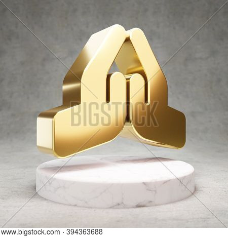 Praying Hands Icon. Gold Glossy Praying Hands Symbol On White Marble Podium. Modern Icon For Website
