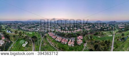 Aerial Panoramic View Of Golf In Upscale Residential Neighborhood During Sunset, Rancho Bernardo, Sa
