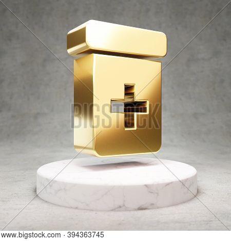 Prescription Bottle Icon. Gold Glossy Prescription Bottle Symbol On White Marble Podium. Modern Icon